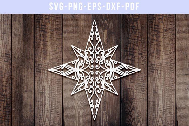 Christmas Star Papercut Template, Xmas Decor Ornament, SVG example image 1