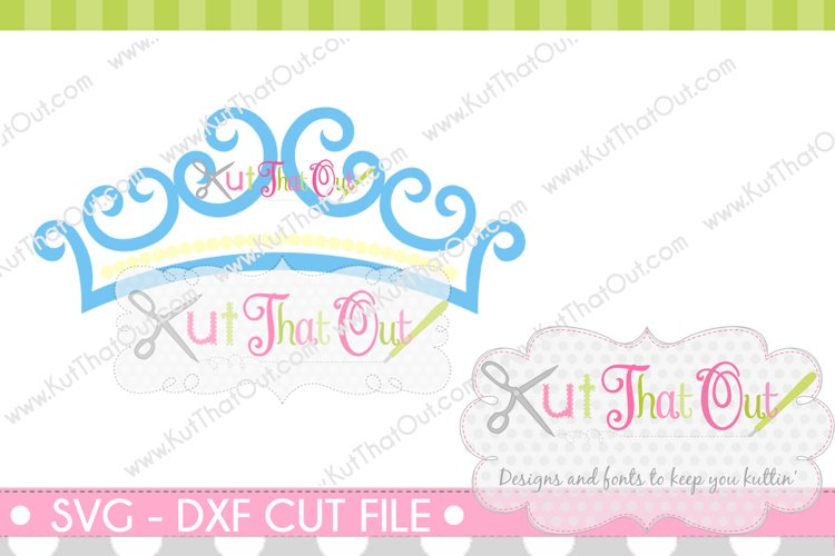 EXCLUSIVE Princess Crown Monogram Font Frame SVG & DXF Cut File example image 1