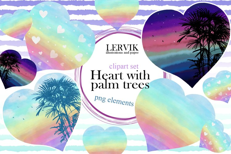 Watercolor rainbow hearts with palm trees clipart example image 1