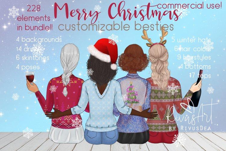 Christmas besties. Best friends customizable clipart.
