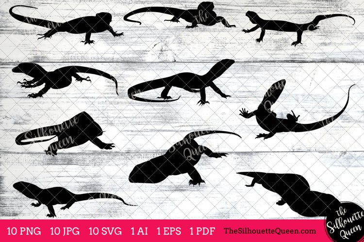 Monitor Lizard Silhouette Clipart Clip Art(AI, EPS, SVGs, JPGs, PNGs, PDF), Monitor Lizard Clipart Vectors - Commercial   Personal Use