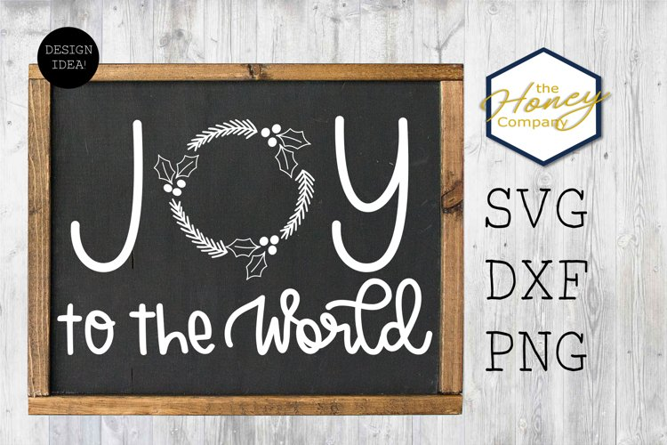 Joy to the World Christmas SVG DXF PNG Hand Lettering Wreath