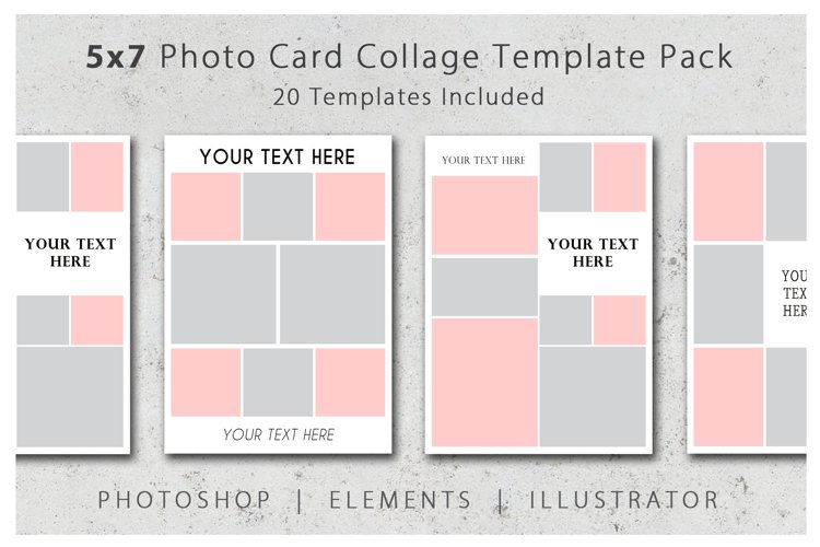 5x7 Photo Card and Invitation Collage Template Pack
