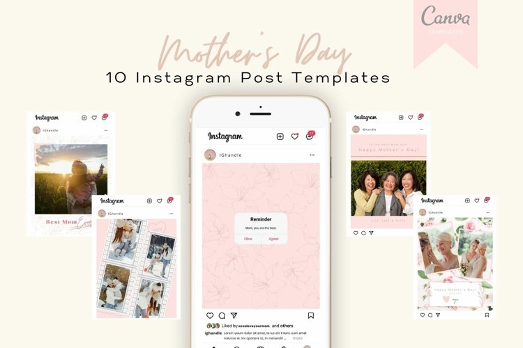 Mothers Day 10 Instagram Post Templates for Canva
