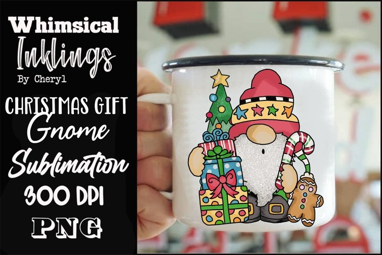 Christmas Gift Gnome Sublimation Clipart example image 1