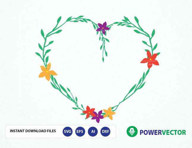 Svg File Heart Shaped Vintage laurel wreath Svg. Love Laurel Wreaths Clipart. Wedding Wreath Clip art. Wedding Invitation - svg, dxf, eps, ai files example image 1