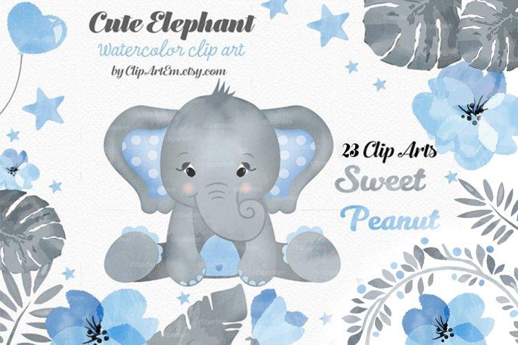 Watercolor Blue Gray Boy Elephant Bundle 23 PNGs files example image 1