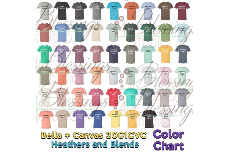 Bella Canvas 3001CVC Color Chart 2019 Updated Heathers Blend example image 1