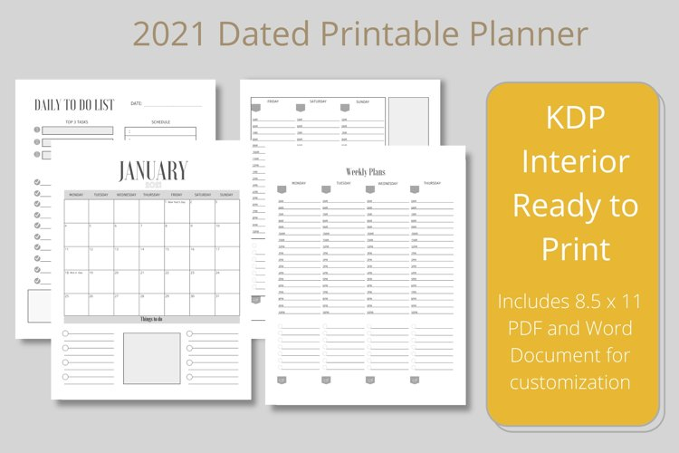 2021 Dated Printable Planner KDP Interior example image 1