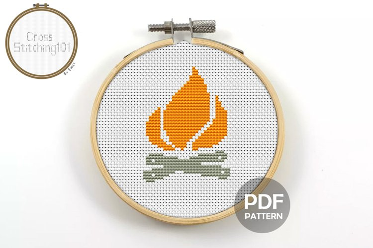 Camp Fire Cross Stitch Pattern - Instant Download PDF example image 1