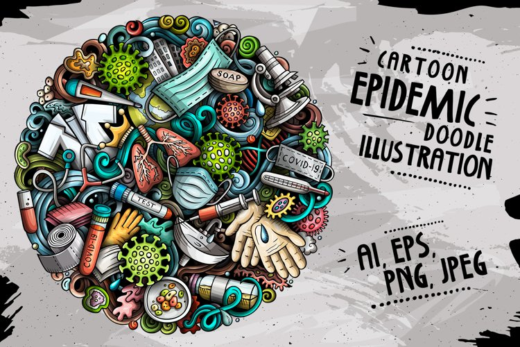 Cartoon vector doodles Epidemic round illustration example image 1