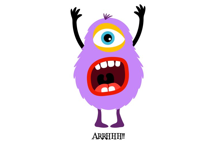Cute violet monster print for t-shirt example image 1