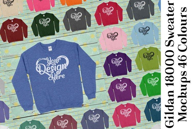 Gildan Sweatshirt Mockup 18000 Mock Up Black White Grey 941 example image 1