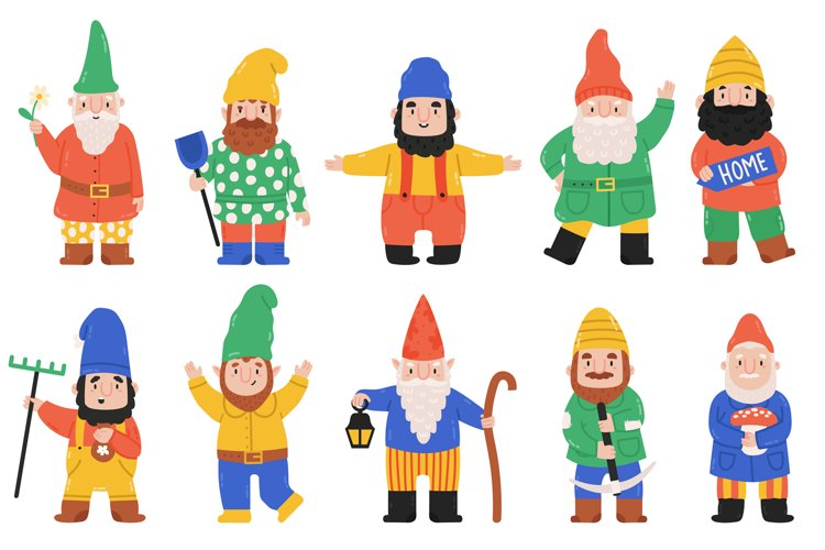 Cute garden gnomes. Dwarf characters with lantern, flowers a example image 1