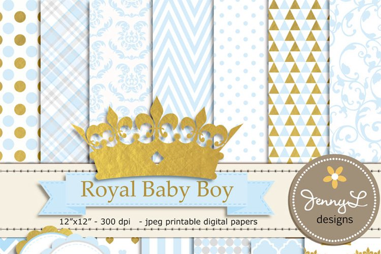 Gold Crown Digital papers and Crown Clipart, Royal Prince Boy Baby Shower, Birthday Blue Birth Announcement, Scrapbooking Paper Party Theme example image 1