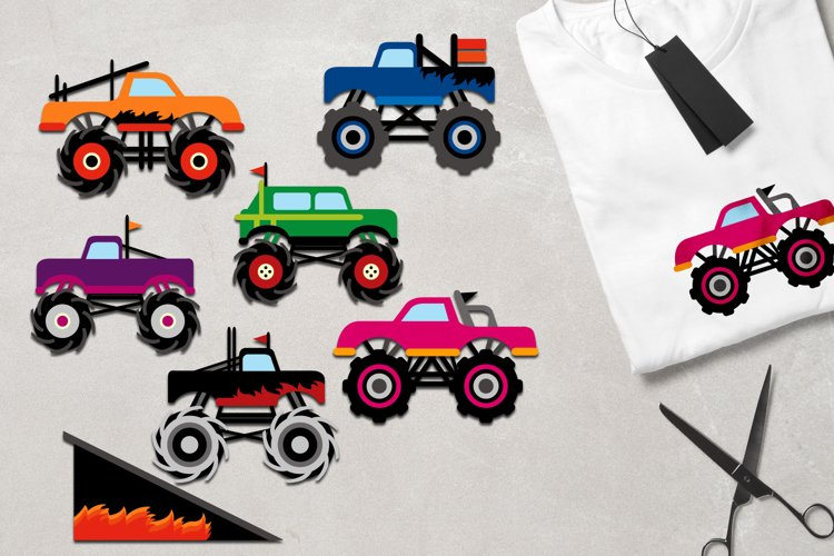 Monster trucks graphics and digital papers