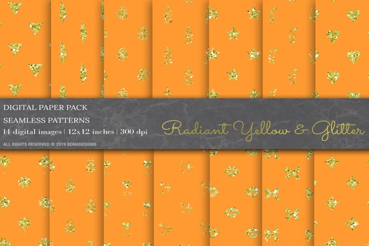 Radiant Yellow Color & Glitter Geometric Digital Papers example image 1