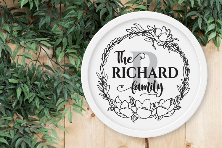 Circle Floral Wreath Farmhouse Sign SVG