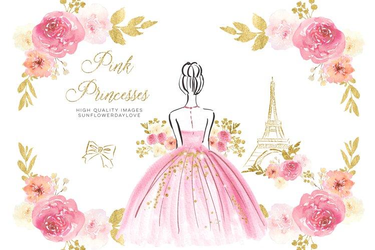 Pink Princess Floral Clipart, Pink & Gold Flowers clip art