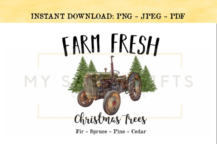 Farm Fresh Christmas Trees With Green Vintage Tractor PNG example image 1