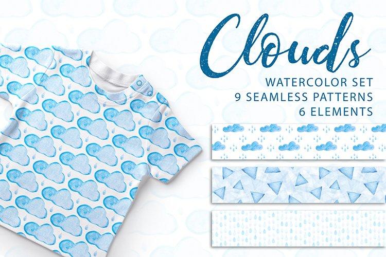 Clouds. Watercolor set. PNG, JPG