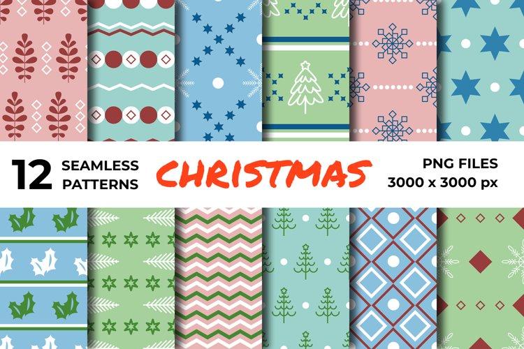 Digital vector seamless geometric Christmas patterns set example image 1