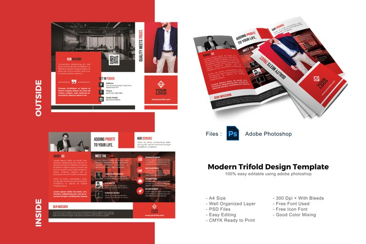 Business modern trifold photoshop template