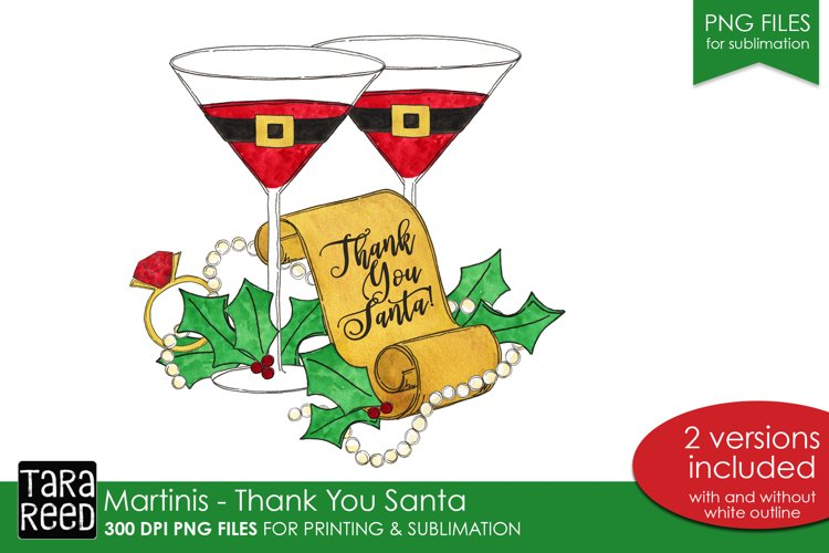 Martinis - Thank you Santa - PNG files for Sublimation