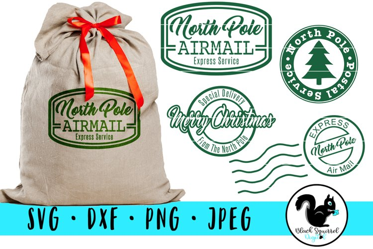 Christmas Stamps SVG, Santa Sack Clipart, North Pole Mail example image 1