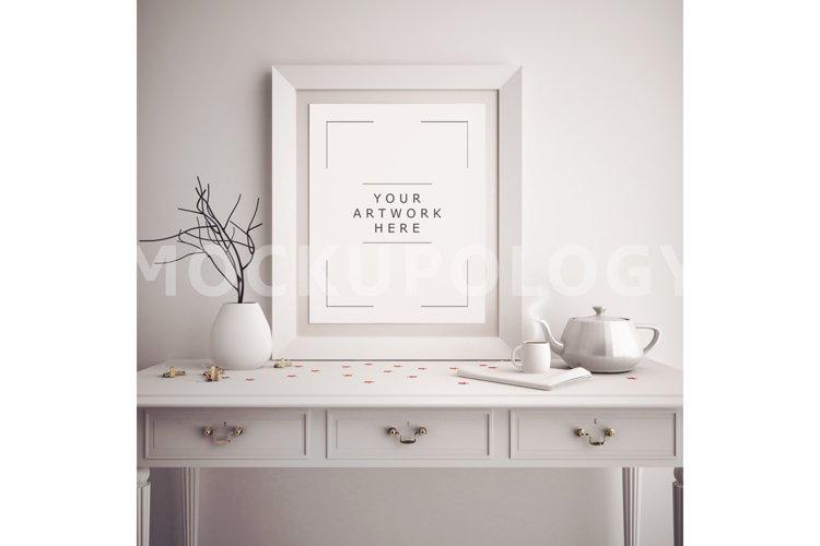 8x10 Vertical White DIGITAL Frame Mockup, Poster Frame Mockup, Wooden French Desk Mockup, Vintage Teapot Styled Frame, INSTANT DOWNLOAD