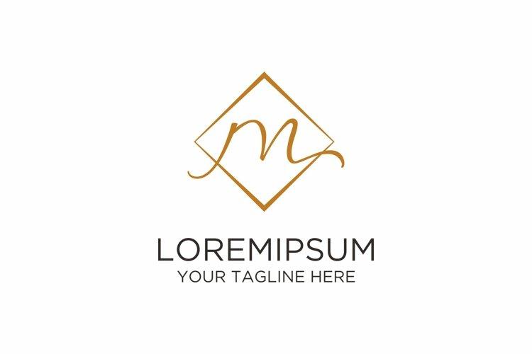 Initial M Letter Rhomb Handwriting Logo example image 1