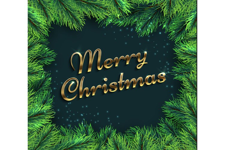 Fir tree branches. Merry christmas glamour background with p example image 1