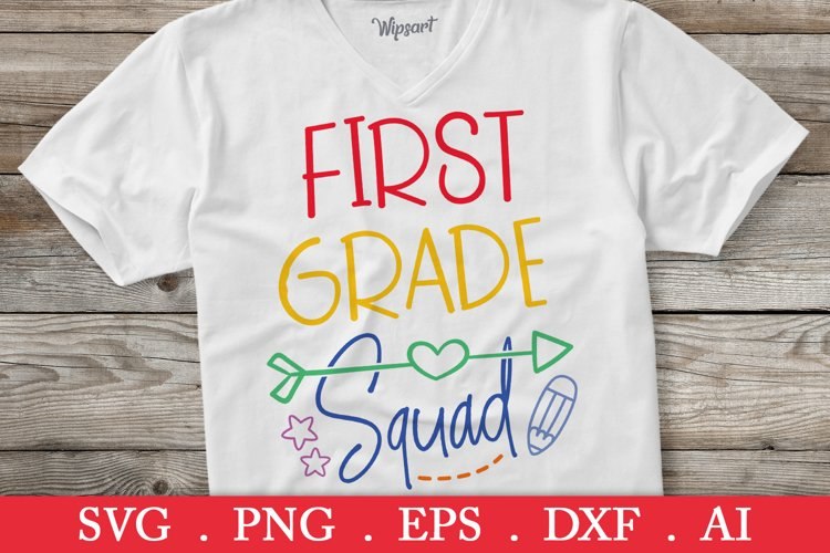SALE! First grade squad svg, back to school svg example image 1