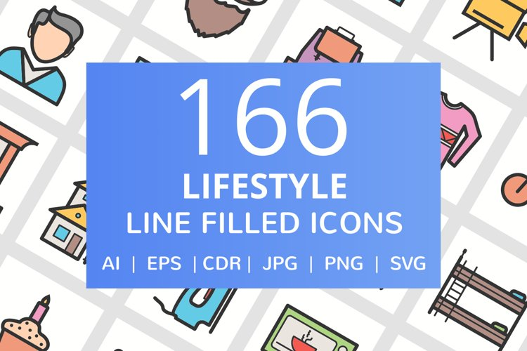 166 Lifestyle Filled Line Icons example image 1
