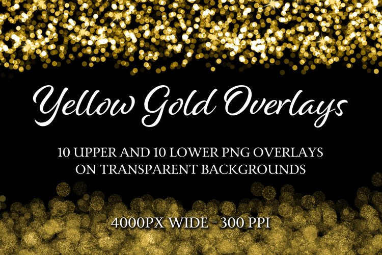 Yellow Gold Overlays - 10 Upper and 10 Lower PNG Overlays example image 1