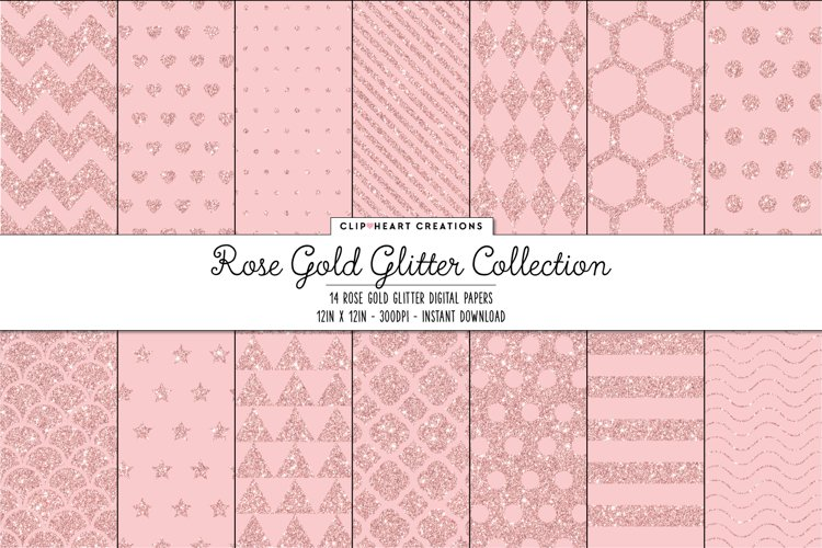Rose Gold Glitter Pattern Papers example image 1