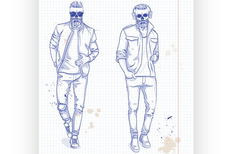 Vector set of two men with skull, beard example image 1
