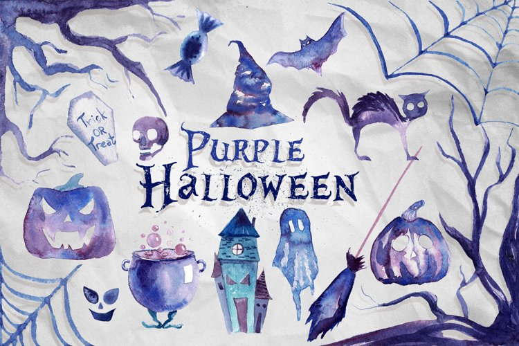 17 Watercolor Purple Halloween PNG Clipart Illustrations