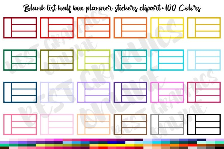 100 Blank list half box checklist planner stickers clipart example image 1