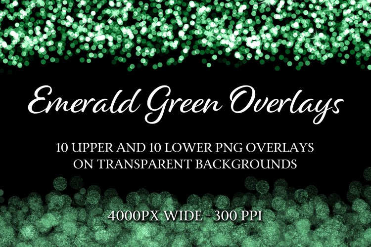 Emerald Green Overlays - 10 Upper and 10 Lower PNG Overlays example image 1