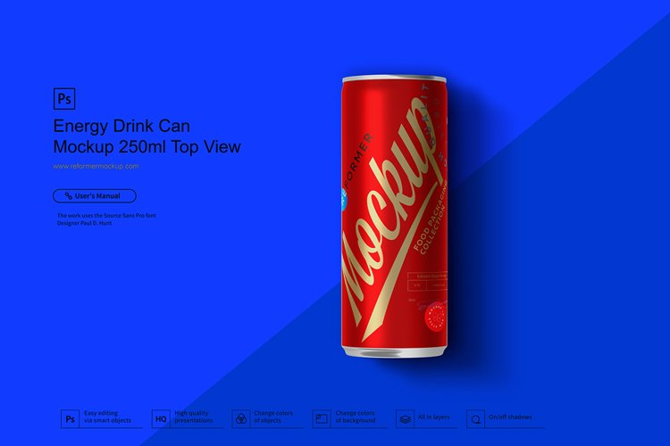 Energy Drink Can Mockup 250ml Top View example image 1