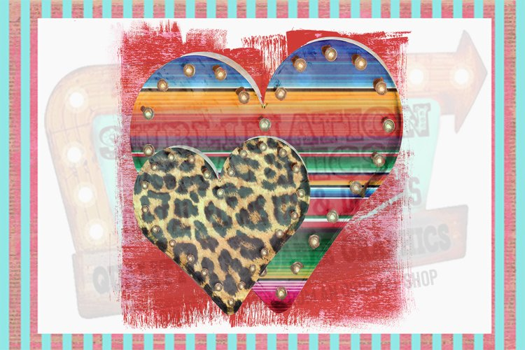 Funky Marquee Hearts Sublimation Digital Download example image 1