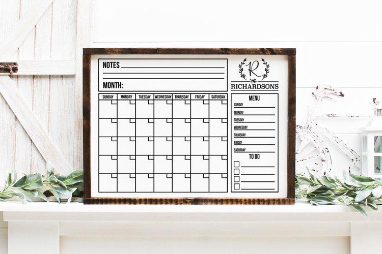 Customizable Family Calendar SVG