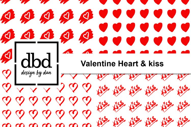 Valentine Heart & Kiss - Hand Drawn