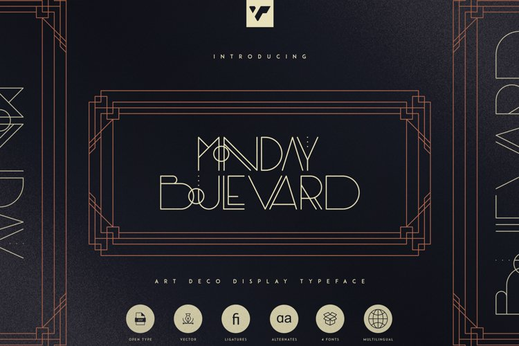 Monday Boulevard - Art Deco Typeface example image 1