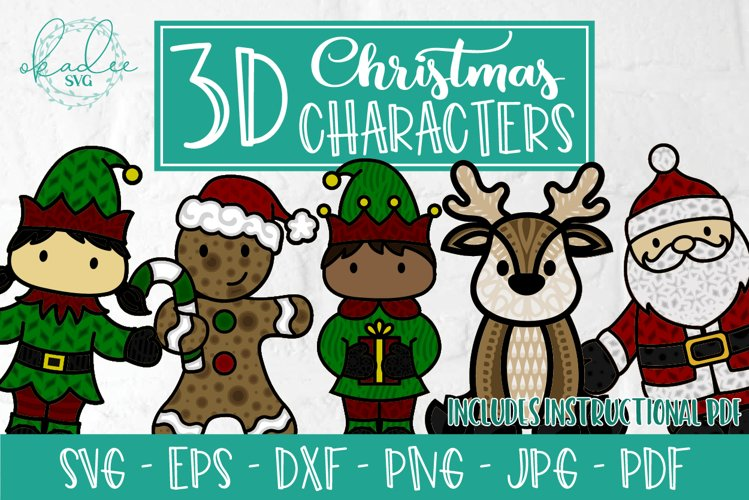 3D Christmas Character Bundle, Layered SVG, Santa, Elf, DXF example image 1