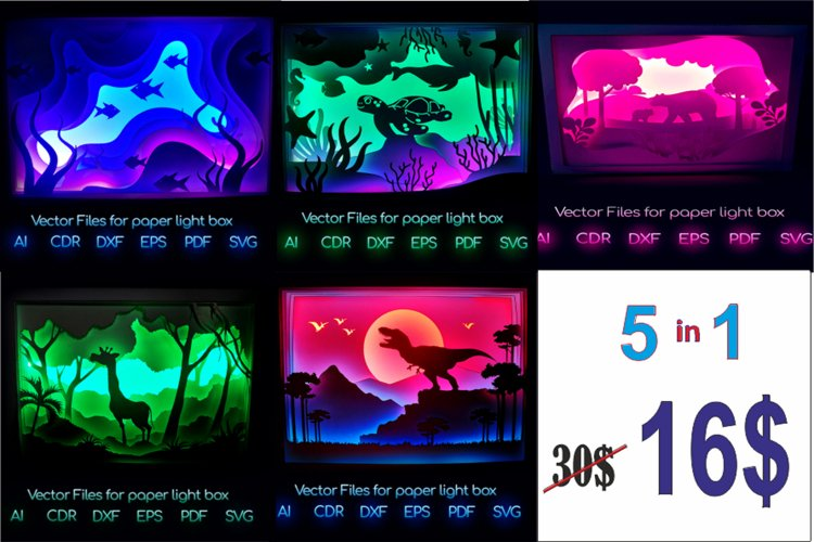 Animals 5/1 Light box PNG SVG DXF CDR template Papercut example image 1