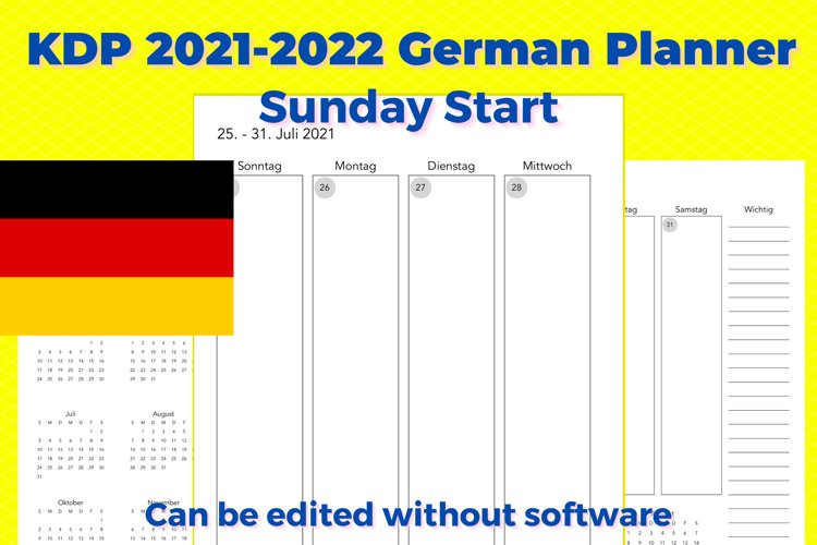 KDP 2021-2022 German Vertical Planner, Sunday Start