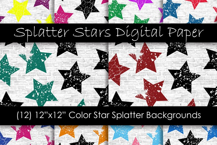 Stars Pattern Digital Papers - Multi-Color Star Backgrounds example image 1