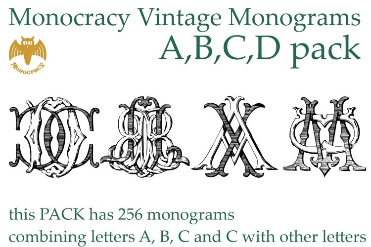 Monocracy Vintage Monograms Pack ABCD example image 1